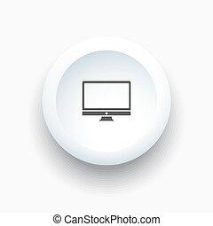 Computer icon on white button