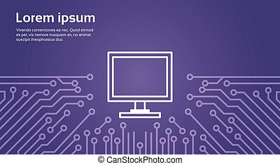 Computer Icon Over Computer Chip Moterboard Background Banner