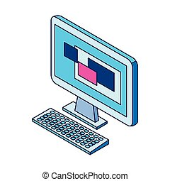 computer icon over white background