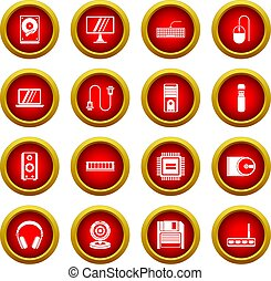 Computer icon red circle set
