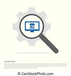 Computer icon Search Glass with Gear Symbol Icon template