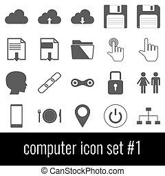 Computer. Icon set 1. Gray icons on white background.