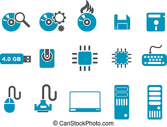 Computer Icon Set - Vector icons pack - Blue Series,...