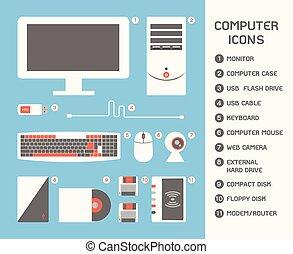 Computer Icon, vector