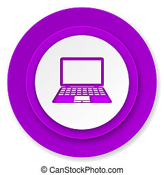 computer icon, violet button, pc sign