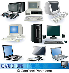 Computer icons 2 - A collection of variety of computers, ...