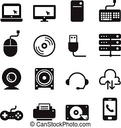 Computer Icons and and Computer Accessories Icons set Vector illustration