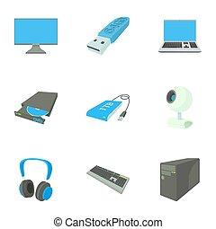 Computer icons set, cartoon style