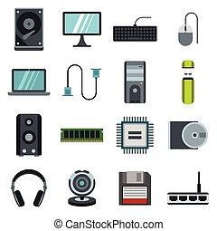 Computer icons set, flat style