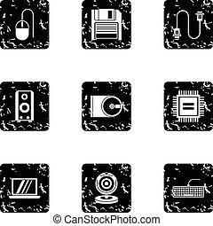 Computer icons set, grunge style