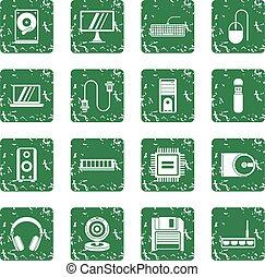 Computer icons set grunge