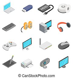 Computer icons set, isometric 3d style