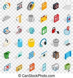 Computer icons set, isometric style
