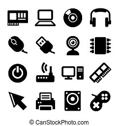 Computer Icons Set on White Background. Vector