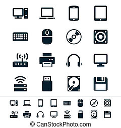 Computer icons - Simple vector icons. Clear and sharp. Easy...