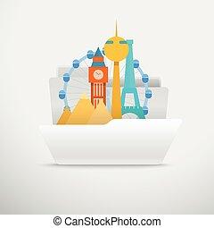 computer, illustration., concetto, viaggiare, vettore, interfaccia, cartella, aperto