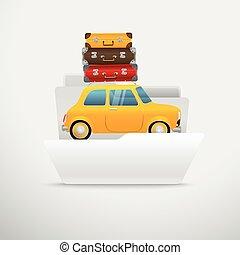 computer, illustration., viaggiare, vettore, interfaccia, cartella, aperto