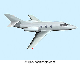 Jet - Computer image, plane private Jet 3D, isolated blue...