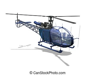 helicopter - Computer image, red helicopter 3D, isolated...