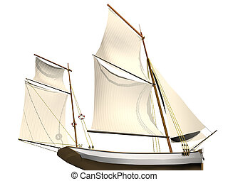 sailing ship - Computer image, sailing ship 3D,isolated ...