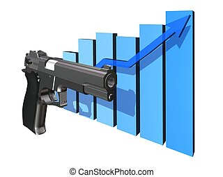 Computer image, statistics violence criminality 3D, isolated white background