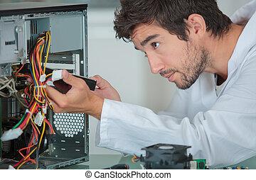 computer, ingenieur, oplossend probleem