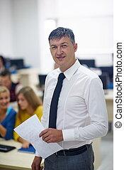 computer, insegnante, laboratorio, classrom, studenti