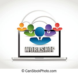 computer internet workshop illustration design over a white...
