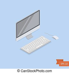 Computer isometric icon. Vector. Isometric white PC monitor with keyboard button and mouse. Isolated on blue. Easy to edit illustration. Flat simple style.