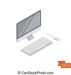 Computer isometric icon. Vector. Isometric white PC monitor with keyboard button and mouse. Isolated on white. Easy to edit illustration. Flat simple style.