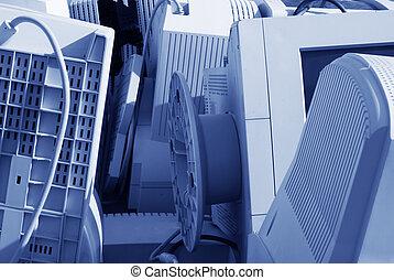 Computer junk - Old computer monitors waiting to be...