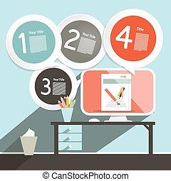 computer, kantoor, -, vector, mal, infographics, opmaak, tafel