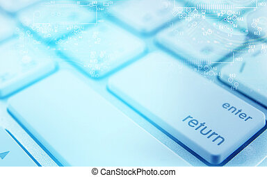computer keyboard and circuit board abstract background