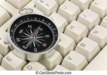 Computer Keyboard and Compass, internet concept