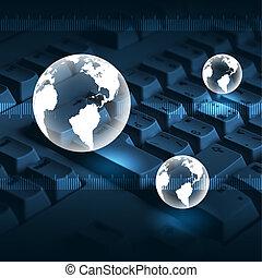 computer keyboard and globe