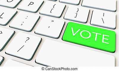 Computer keyboard and green vote key. Conceptual 3D rendering