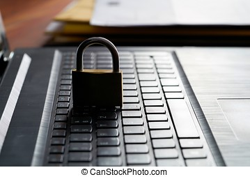 Internet security - Computer keyboard and padlock as a...