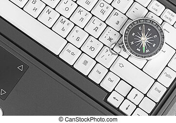 Computer keyboard and retro compass