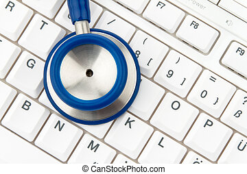 Computer keyboard and stethoscope. IT for physicians.