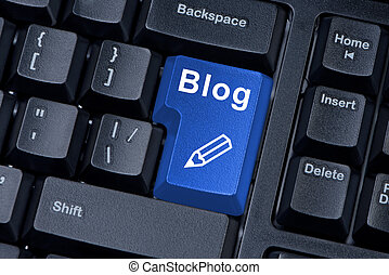 Computer keyboard button with word blog and icon pencil.