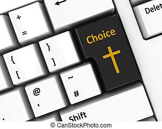 Computer keyboard choice - Choice key with cross of Christ...