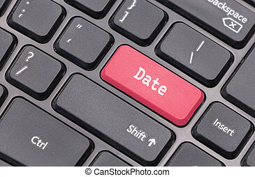 """Computer keyboard closeup with """"Date"""" text on red  enter key"""