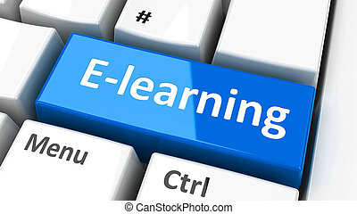 Computer keyboard e-learning - E-Learning key on the...