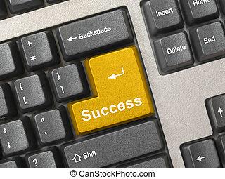 Computer keyboard - gold key Success
