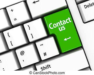 Computer keyboard green contact us