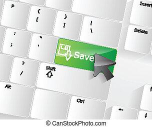 Computer keyboard - green key Save, close-up
