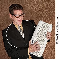 Computer Keyboard Hero - Caucasian business man playing...