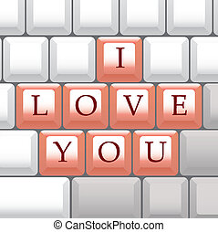 computer keyboard I Love You - illustration