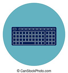 Computer Keyboard Icon Web Button On Round Blue Background