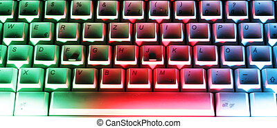 Computer-Keyboard in colorful lighting
